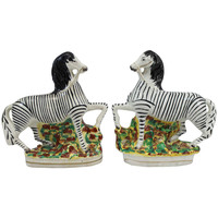 Staffordshire Pair of Zebras