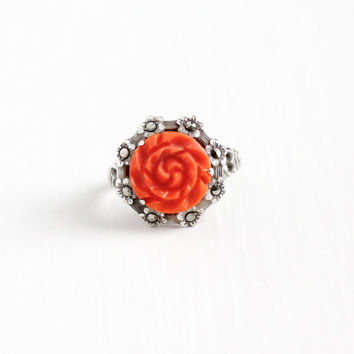 Vintage Art Deco Sterling Silver Carved Coral Flower Ring - 1930s Size 6 Heart Design Marcasite Statement Floral Jewelry Singed Uncas