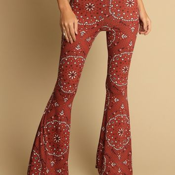 Estancia Ornate Floral Print Flares | Threadsence