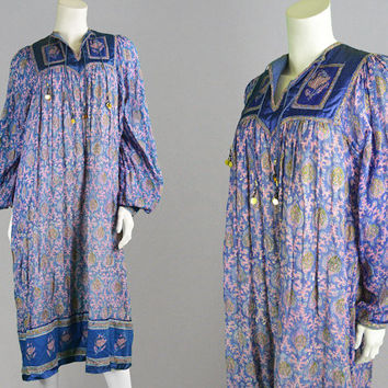 Vintage 70s Indian Cotton Gauze Dress Mina of Carnaby Street Quilted Dress Boho Dress Hippy Festival Satin Trim Block Print Indian Dress