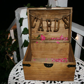 Wedding wood box / wedding card holder / wedding favor box / program box / memory box / wedding table decor / rustic wood box / wood trunk