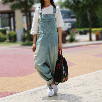 Casual Loose Plus Size Denim Overalls Women Ripped Jean Jumpsuit Boyfriend Wide Leg Jeans Harem Pants Trousers