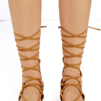 Early Explorer Camel Lace-Up Gladiator Sandals