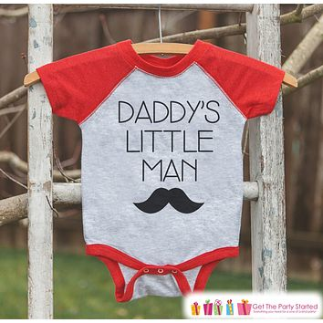 Boys Father's Day Outfit - Mustache Red Raglan Shirt - Daddy's Little Man - Happy Fathers Day Gift, Baby Boys Onepiece or Shirt - Toddler
