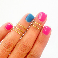 5 Knuckle Rings- Above Knuckle Rings - Plain Band Knuckle Rings - Set of 5 by Little Thing's