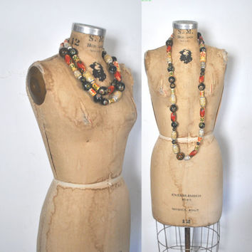 Long Wood Beaded Necklace / Boho Ethnic