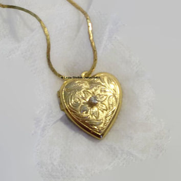 Gold Tone, Engraved, Heart Shaped Locket on Gold Tone Chain, Center Rhinestone, Very Ornate Engraved Design, Inner Repair, Estate Necklace