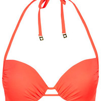 Flame Plunge Bikini Top - Orange