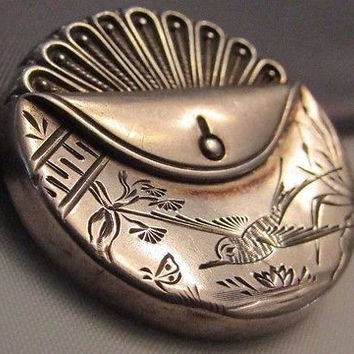 Victorian Edwardian Sterling Silver Brooch Pin Etched Bird Flowers Stunning