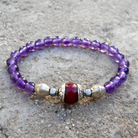 healing, Faceted Amethyst gemstone yoga mala bracelet