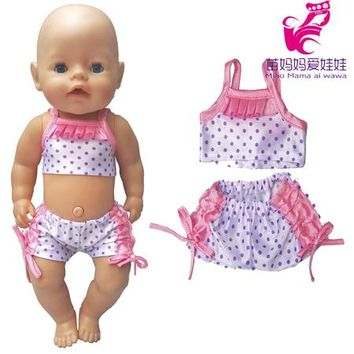 Swimming Pool beach 18 inch American Girl Doll Bikini + Cap summer Swimming Suit With Hat also fit for 43cm Bebe born zapf dolls children gift toysSwimming Pool beach KO_14_1