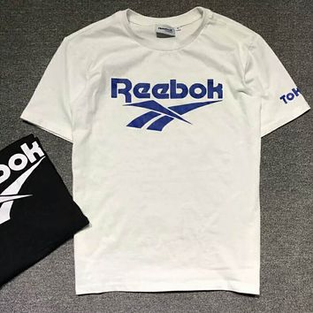 Reebok Summer trendy classic color large log black and white T-shirt F-XMCP-YC white