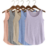 Spring Summer New Tank Tops Women Sleeveless Round Neck Loose T Shirt Ladies Vest Singlets