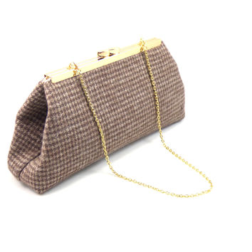 Brown Hounds Tooth and Champagne Evening Clutch