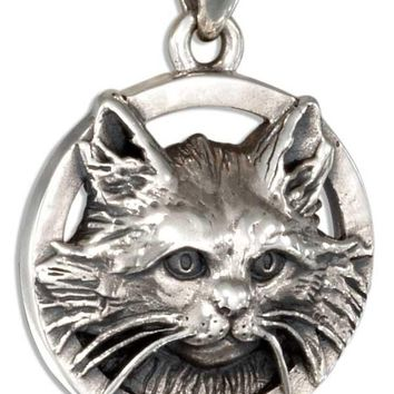 Long Hair Cat Charm - Sterling Silver Kitty Pendant