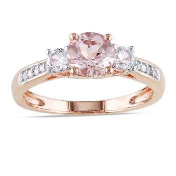 Miadora 10k Rose Gold Morganite and White Sapphire Diamond Accented 3-stone Engagement Ring (G-H, I1-I2) | Overstock.com Shopping - The Best Deals on Gemstone Rings