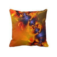 Orange Eyes Aglow – Gold & Violet Delight Pillow