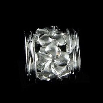 14K SOLID WHITE GOLD 9MM HAWAIIAN PLUMERIA TROPICAL FLOWER BARREL SLIDE PENDANT
