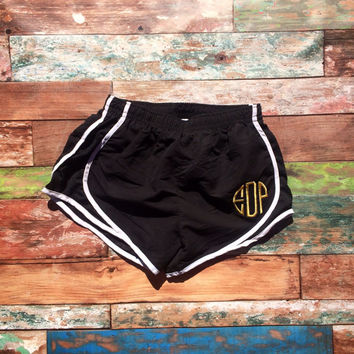 Black and White Monogram Running Shorts Metallic Gold Monogram Athletic Shorts Women Girls Monogrammed Shorts Embroidered Athletic Gym Cheer