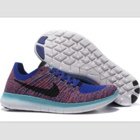Nike free RN flynit running sneakers Sport Casual Shoes Sneakers Blue-dark red