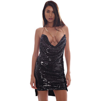 2017 Deep v neck sequined backless sexy dress Women side split chain short dress robe Christmas party club black dress vestidos