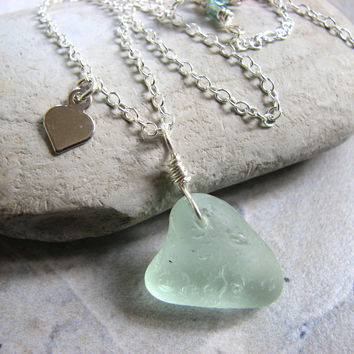 Sea Glass Heart Pendant Necklace on Sterling Silver Chain