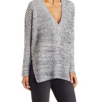 Gray Combo Marled V-Neck Pullover by Charlotte Russe