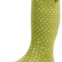 Chooka Women`s Posh Dots Rain Boot,Dirty Lime,9 M US