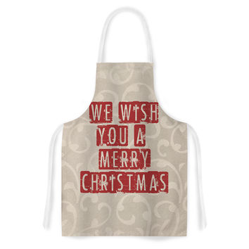 "Sylvia Cook ""We Wish You A Merry Christmas"" Holiday Artistic Apron"
