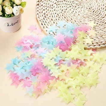 VOND4H 100pcs Luminous Wall Stickers Glow In The Dark Stars Sticker Decals for Kids Baby rooms Colorful Fluorescent Stickers Home decor