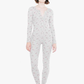 Printed Thermal Henley Long Sleeve Catsuit   American Apparel