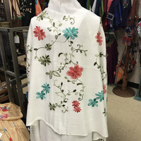 Embroidered Shawl Floral White