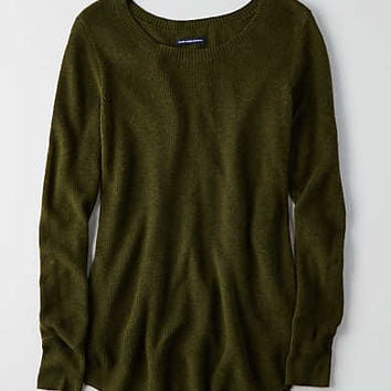 AEO Crew Jegging Sweater, Olive