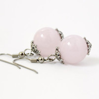 Simple Pastel Pink and Silver Glass Ball Beaded Dangle Earrings - Small Feminine Handmade Jewelry - Ready to Ship
