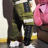 PUMA Autumn And Winter High Quality Fashion New Letter Print String Mark Thick Keep Warm Women Men Pants Army Green
