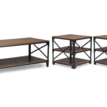 Baxton Studio Greyson Vintage Industrial Antique Bronze Coffee Cocktail Table and End Tables 3-Piece Occasional Table Set Set of 1