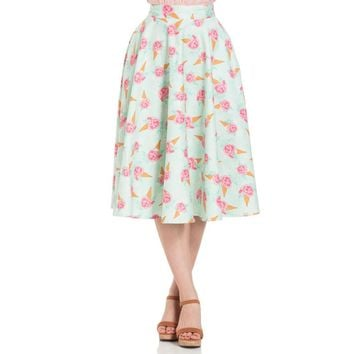 Amy Floral Ice Cream Full Flare Skirt