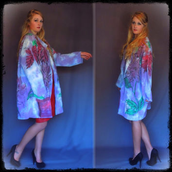 Vintage oversize hand painted kimono jacket / artisan thick rough cotton floral coat / xl boho purple maroon green robe