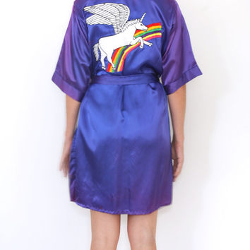 VIntage Pegasus Unicorn Bath Robe Purple Satin Monogrammed Embroidered Rainbow Pegacorn Purple Blue