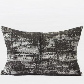 "Charcoal Mix Color Metallic Chenille Pillow 14""X20"""