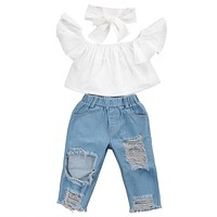 3 pcs Girls White Crop Top, Distressed Pants, and Headband
