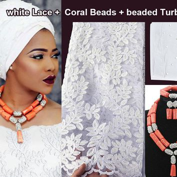 Set of 5 yards pure white African french lace fabric and Coral Beads Velvet turban together high quality