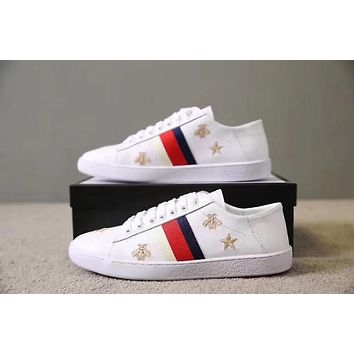 GUCCI Popular Classic Women Men Leisure Star Bee Embroidery Flats Sport Shoes Sneakers I