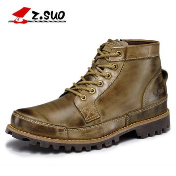 Z.SUO High Quality Western Boots 100% Genuine Leather Upper Rubber Outsole Men's Boots Leisure Fashion Autumn Winter Boots ZS608