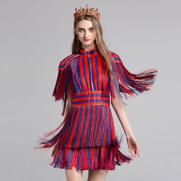 Striped Tassel Dress Brand Fashion Designers Womens Color Block Cloak Sleeves Mini Party Dresses Summer High End Runway Dress