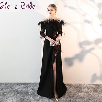 Evening Dress Elegant Black Boat Neck 3/4 Sleeves Zipper A Line Sweep Train Split Satin Lace Feather Sequines Party Prom Dress