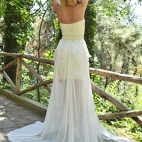 Handmade Wedding Dress Lacen Ivory Vintage Gown / Free Shipping