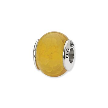 Yellow Cracked Agate Stone Bead & Sterling Silver Charm, 13mm