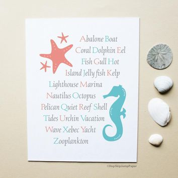 Alphabet art print in coral pink and blue with starfish and seahorse