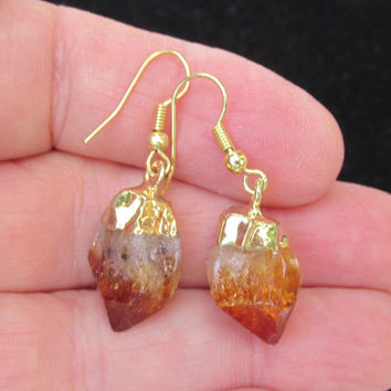 Raw Citrine Earrings, Gold Plated, Raw Citrine Point, White Yellow Gold Shaded Citrine, Natural Citrine Quartz, Metaphysical